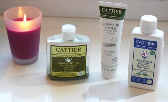 Test des produits Cattier gommage argile blanche, shampoing argile verte, gel nettoyant purifiant