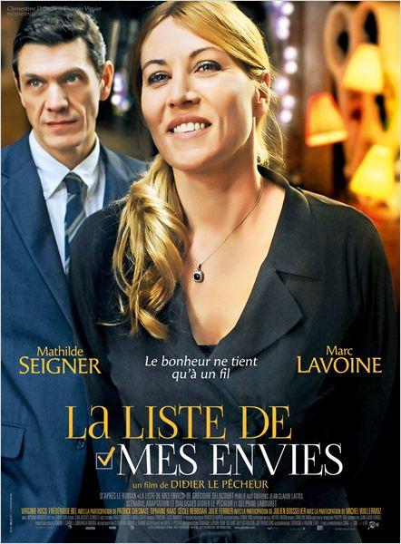 affiche du film La liste de mes envies, pour le cinémas avec Mathilde Seigner et Marc Lavoine