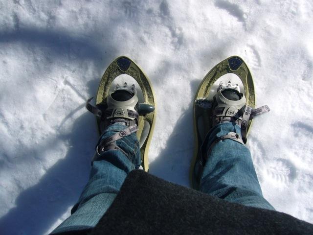 Marche dans la neige en raquette à Castérino.