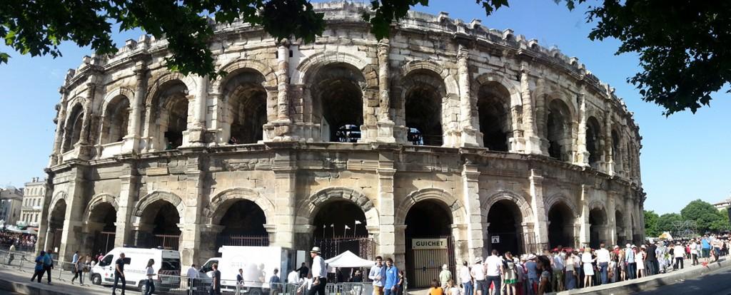Les arènes de Nîmes durant la feria de 2014