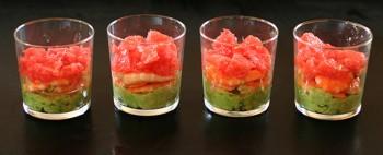 recette facile de verrines aux crevettes, à l'avocat et au pamplemousse
