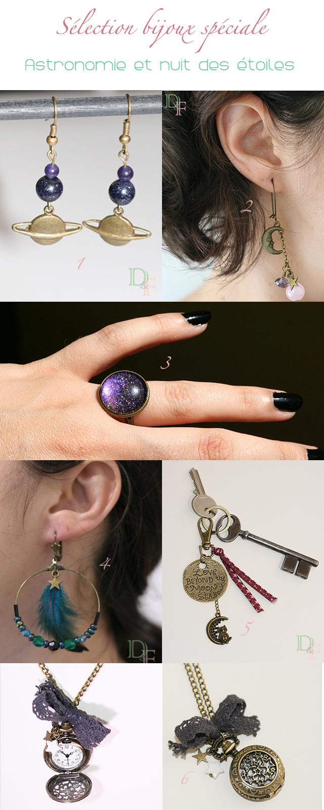 Sélection de bijoux fantaisie spéciale nuit des étoiles, sur le thème de l'astronomie, des planètes, de la Lune et des étoiles.
