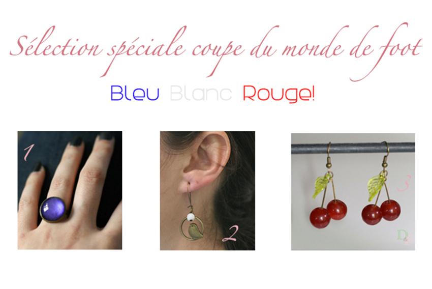 Sélection de bijoux fantaisie aux couleurs de l'équipe du drapeau français pour la coupe du monde de football 2014