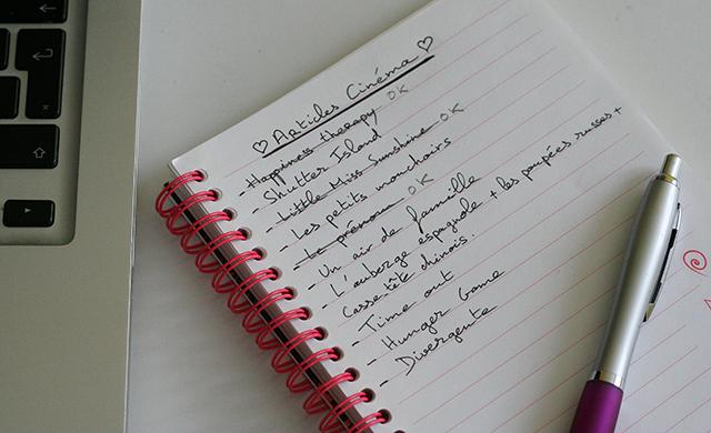 Carnet de notes de l'inspiration our mon blog