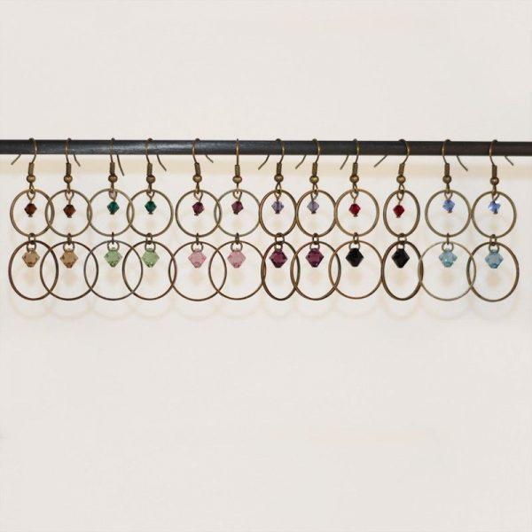 Boucles d'oreilles anneaux bronze et perles en cristal par Divine et Féminine.