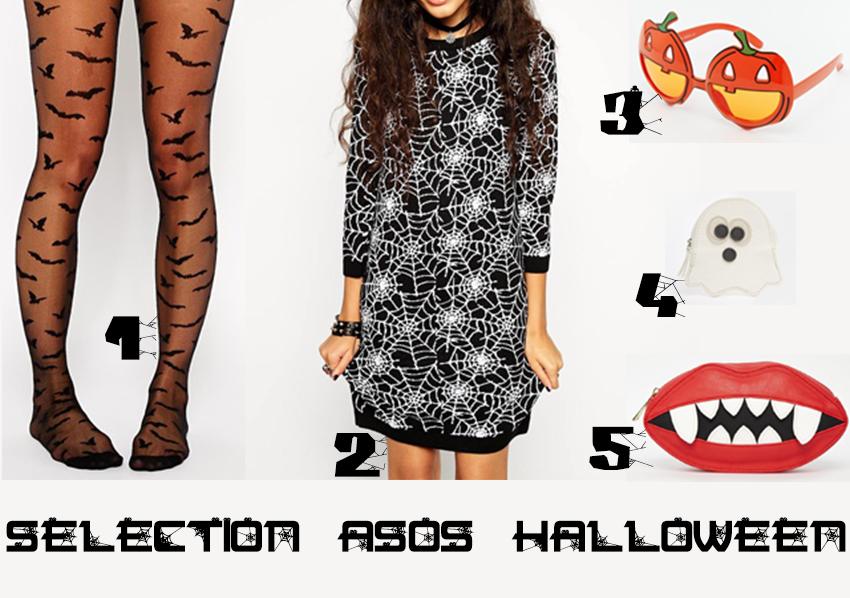 Sélection d'accessoires de costumes pour halloween issus de la boutique ASOS.