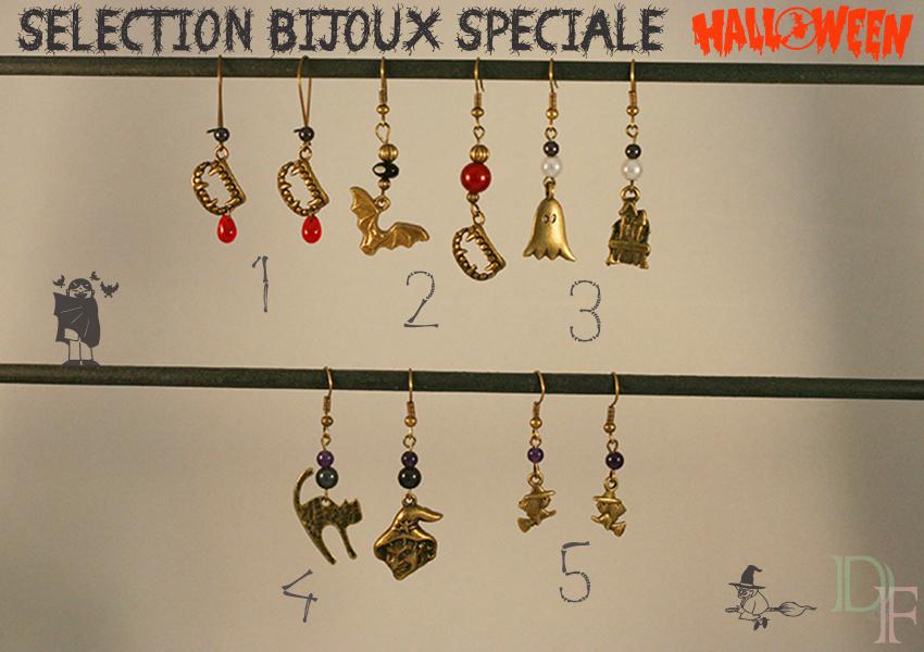 Sélection de bijoux fantaisie et boucles d'oreilles spéciale Halloween