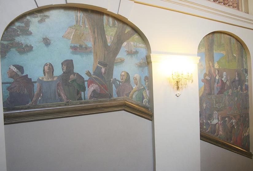 peinture Jean-Paul Laurens, Tournoi du XIVe siècle dans le grand escalier du Capitole de Toulouse