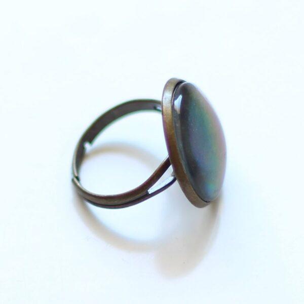 Bague holographique anneau réglable en laiton bronze par Divine et Féminine.