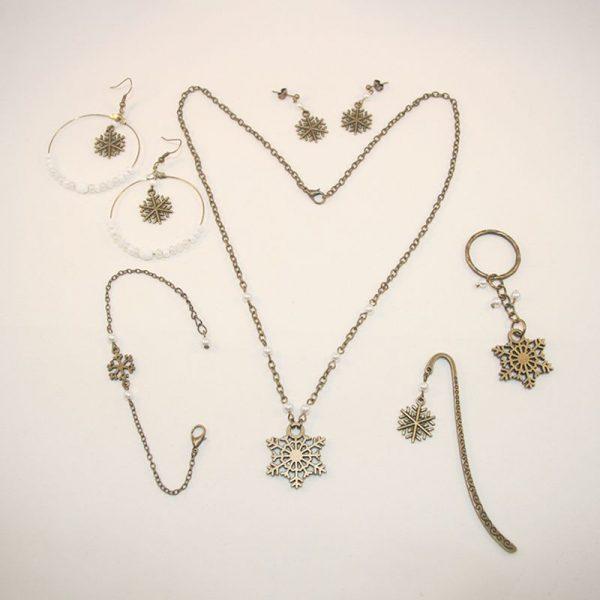 Bijoux Noël neige flocon bronze idée cadeau par Divine et Féminine.