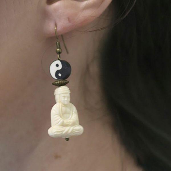 Boucles d'oreille Yin Yang Bouddha zen par Divine et Féminine.