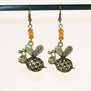 Boucles d'oreilles abeille bronze et perles couleurs miel par Divine et Féminine.