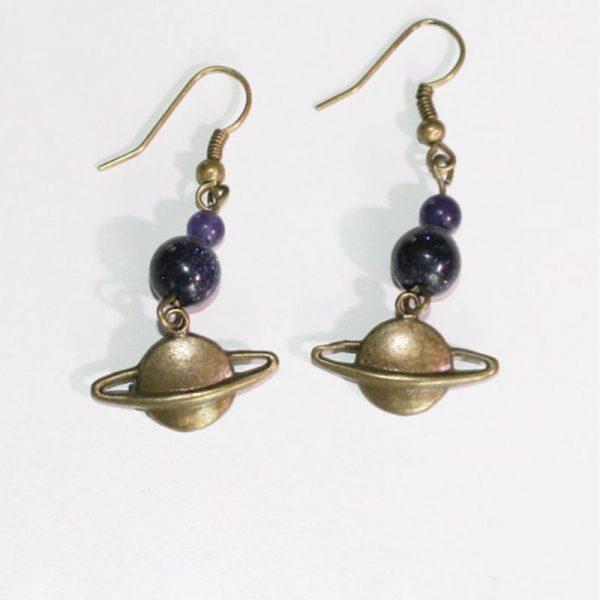 Boucles d'oreille Saturne bronze par Divine et Féminine.