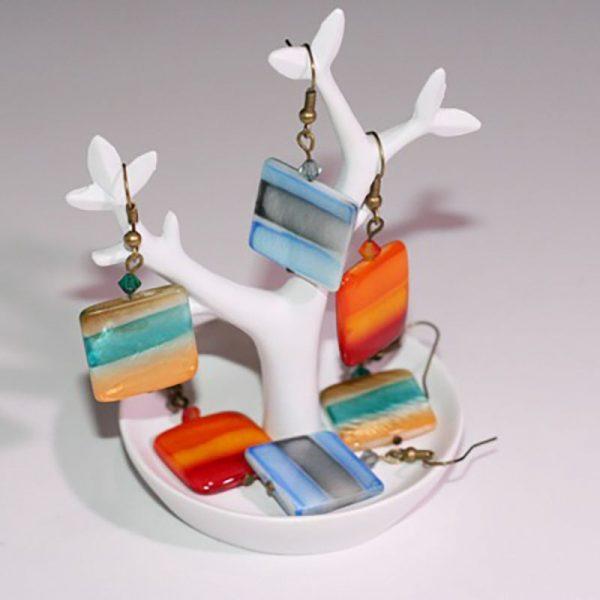Boucles d'oreilles carrées dégradées comme une aquarelle par Divine et Féminine.