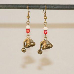 Boucles d'oreilles bonnet du père Noël en bronze par Divine et Féminine.