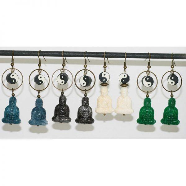 Boucles d'oreilles bouddha perle yin et yang par Divine et Féminine.