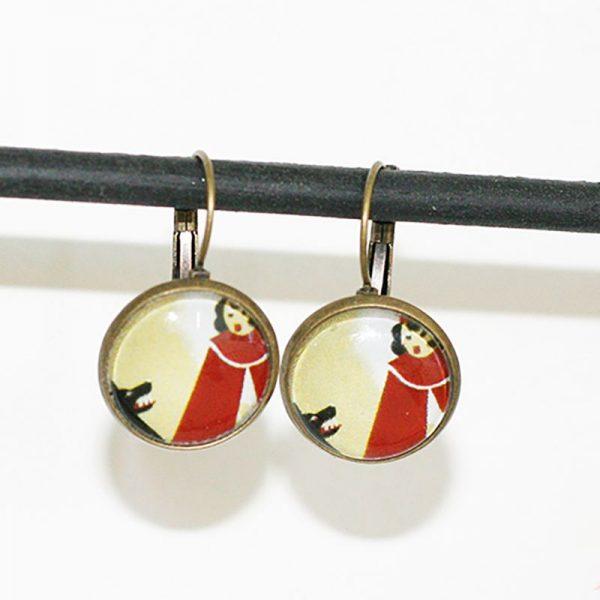 Boucles d'oreilles petit chaperon rouge et loup conte par Divine et Féminine.