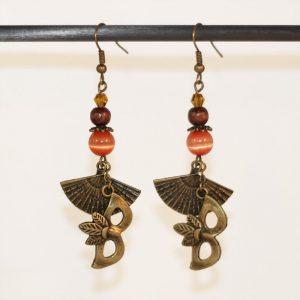 Boucles d'oreilles carnaval de Venise éventail et masque bronze par Divine et Féminine.