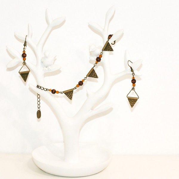 Bracelet et boucles d'oreilles inspiration aztèque ethnique triangles bronze par Divine et Féminine.