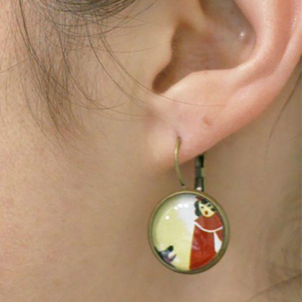 Petit chaperon rouge et loup boucles d'oreilles par Divine et Féminine.