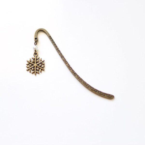 Marque page neige flocon d'Hiver en laiton couleur bronze par Divine et Féminine.