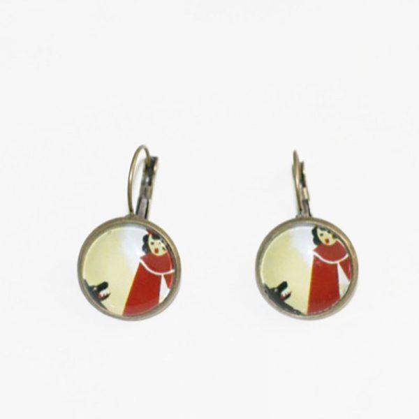 Boucles d'oreilles chaperon rouge et loup fable par Divine et Féminine.