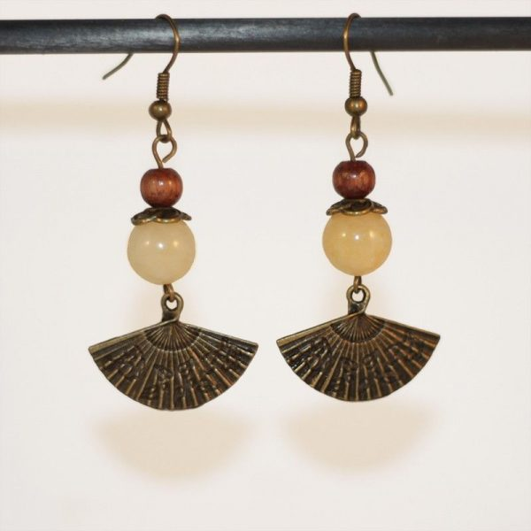 Boucles d'oreilles Japon inspiration avec éventail bronze par Divine et Féminine.