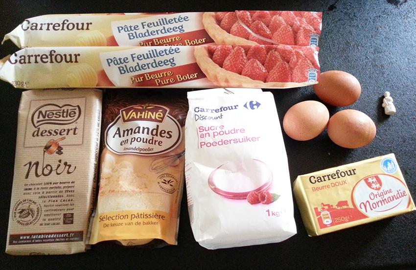 Ingrédients nécessaires pour réaliser une galette au chocolat.