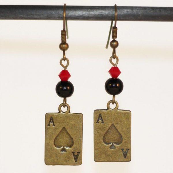 Boucles d'oreilles paire d'as carte bronze par Divine et Féminine.