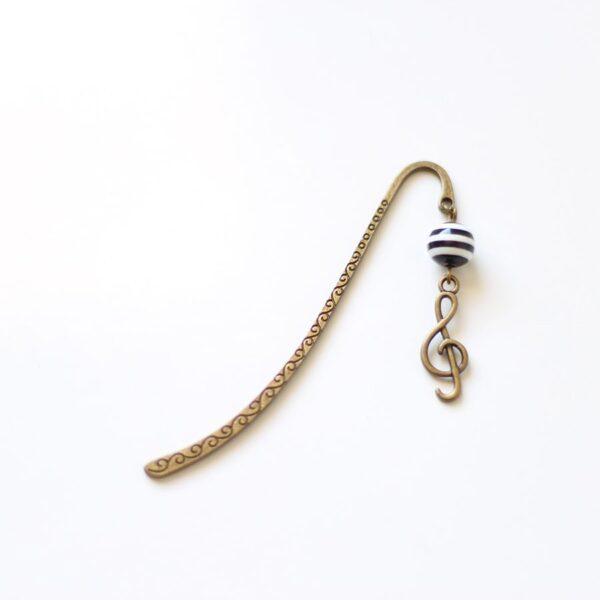 Marque page musique et clé de Sol en laiton couleur bronze par Divine et Féminine.