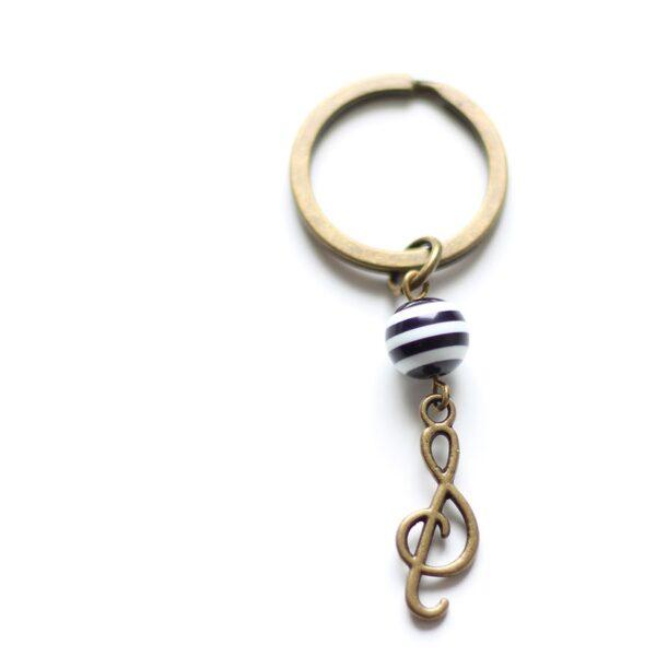 Porte clefs musique clé de Sol en laiton bronze par Divine et Féminine.
