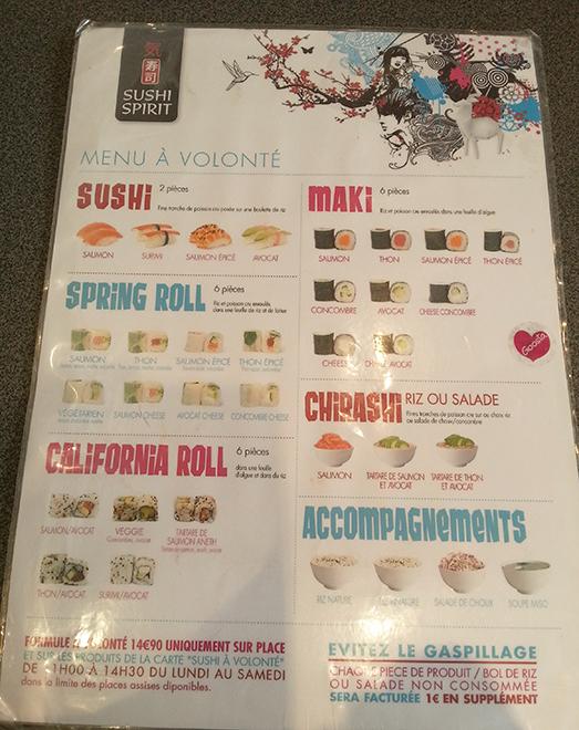 Menu à volonté de Sushi Spirit à Antibes.