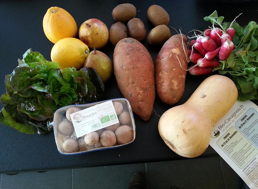 Fruits et légumes bio issus des paniers bio cavagnou des Alpes Maritimes.