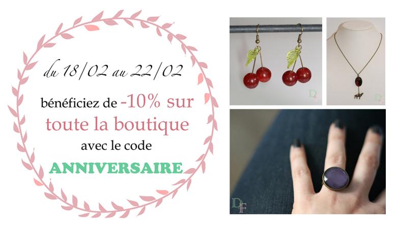 Code promo pour l'anniversaire de la boutique de bijoux fantaisie Divine et Féminine.