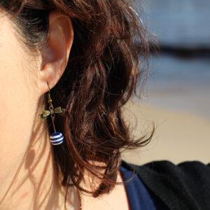 Boucles oreilles noeud et marinière par Divine et Féminine.