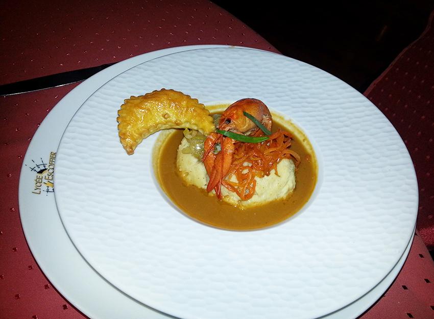 Repas gastronomique au restaurant le Melba du lycée professionnel Escoffier de Cagnes sur Mer.