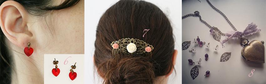 Sélection de bijoux et accessoires, idéale pour un mariage.