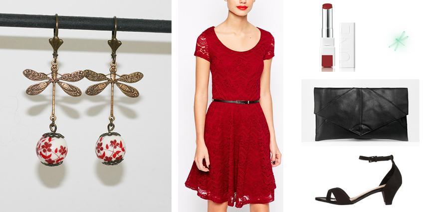 Sélection shopping pour boucles d'oreilles libellules rouges romantiques.