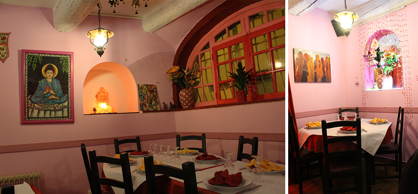 Salle du restaurant indien Chamkila à Antibes.