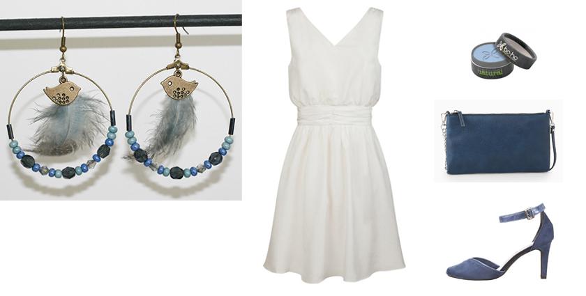 Sélection shopping, tenue pour les boucles d'oreilles créoles plumes bleu jeans.