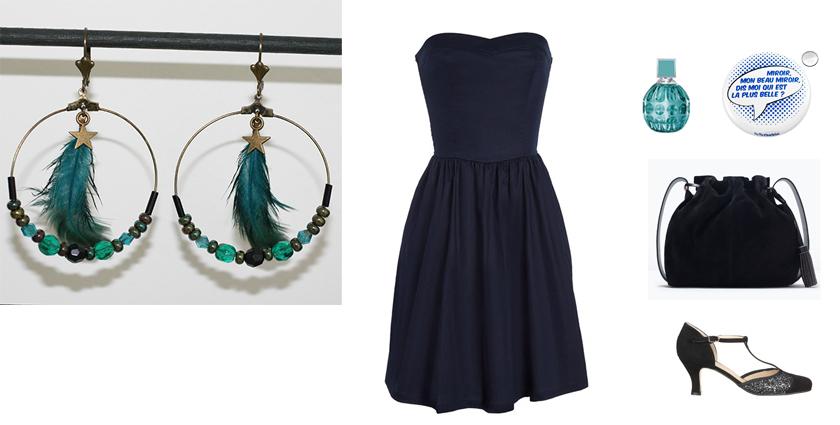 Sélection shopping, tenue pour les boucles d'oreilles créoles plumes bleu nuit canard.