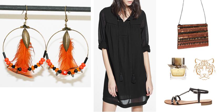 Sélection shopping, tenue pour les boucles d'oreilles créoles plumes orange tigrée.