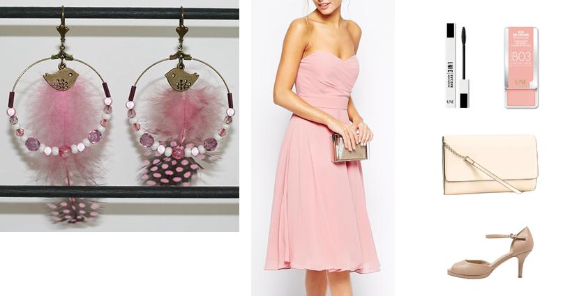Sélection shopping, tenue pour les boucles d'oreilles créoles plumes rose poudré.