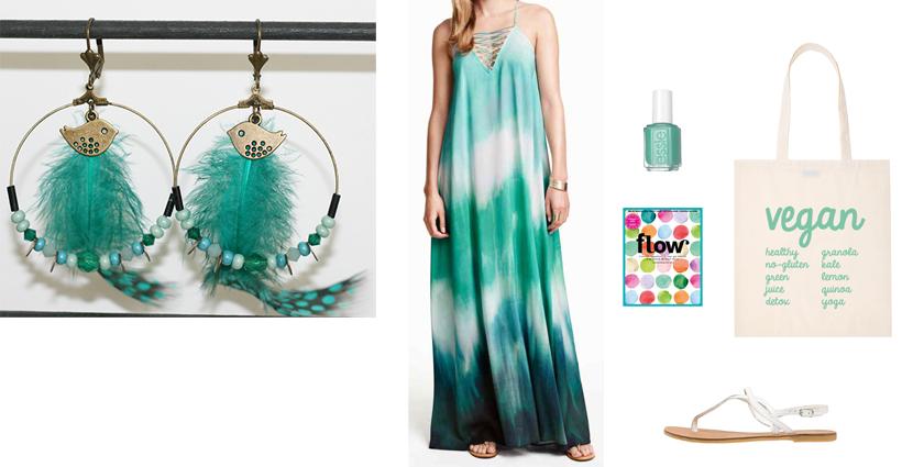 Sélection shopping, tenue pour les boucles d'oreilles créoles plumes turquoise, bleu vert.