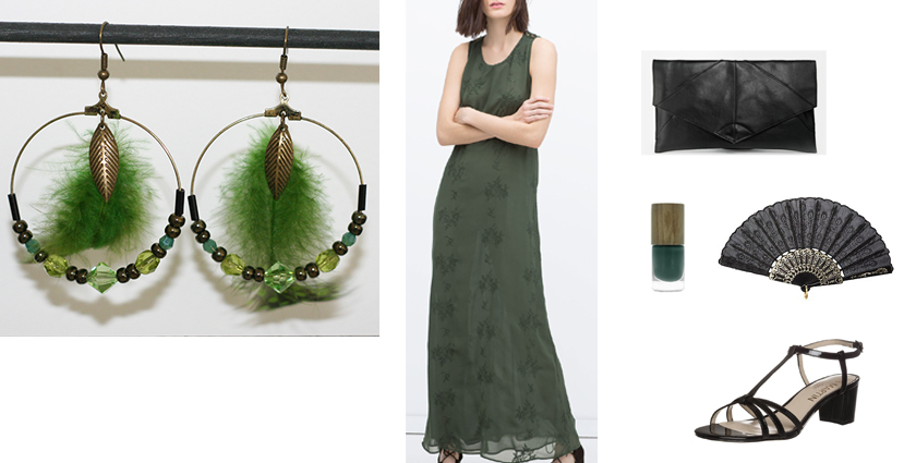 Sélection shopping, tenue pour les boucles d'oreilles créoles plumes vertes feuilles.