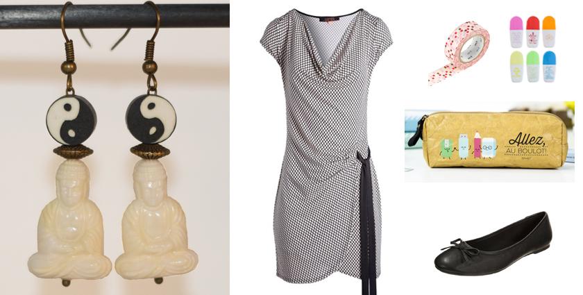 Sélection shopping, idée de tenue de rentrée zen avec les boucles d'oreilles bouddha blanches.