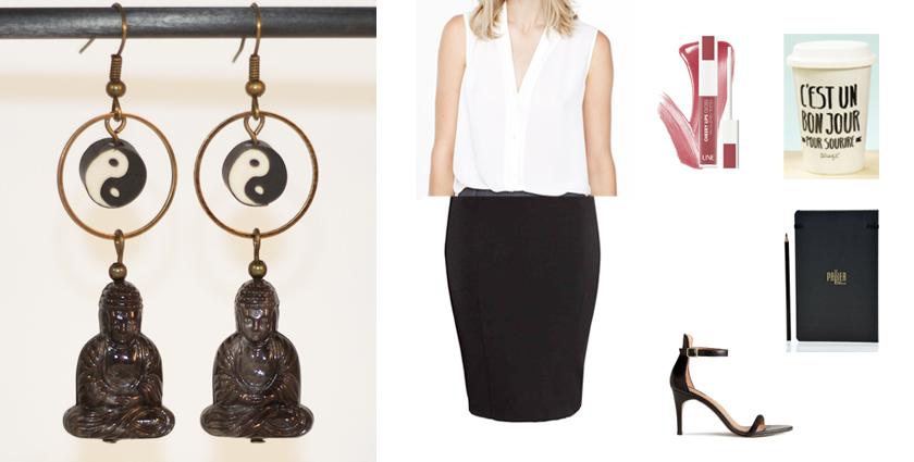 Sélection shopping, idée de tenue de rentrée zen avec les boucles d'oreilles bouddha noires.