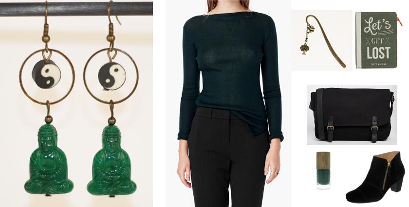 Sélection shopping, idée de tenue de rentrée zen avec les boucles d'oreilles bouddha vertes.
