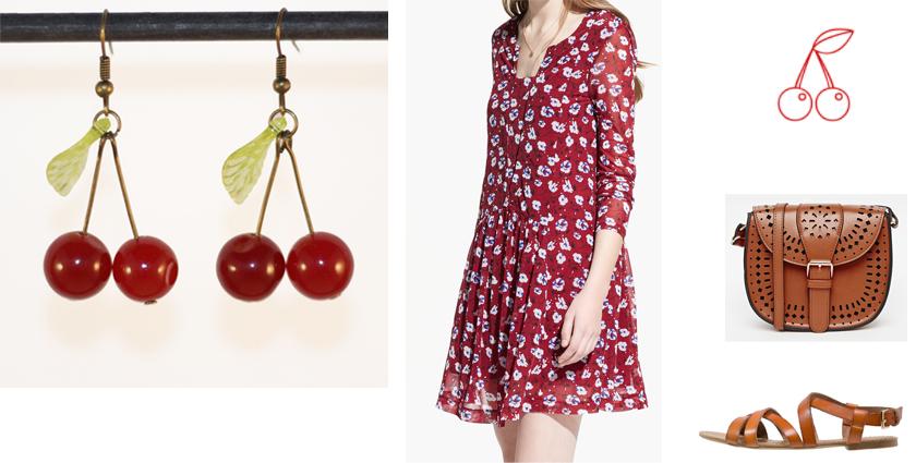 Sélection shopping, idée de tenue bohème, robe fleurie à assortir aux boucles d'oreilles cerises.