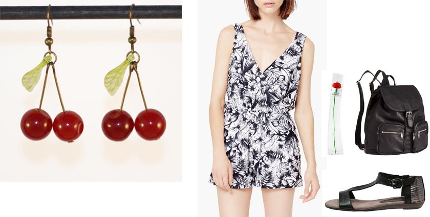 Sélection shopping, idée de tenue d'été décontractée, à assortir aux boucles d'oreilles cerises.